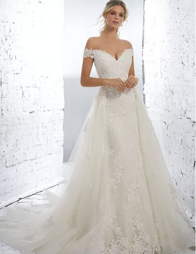 Cap sleeve beading lace and net bridal gown