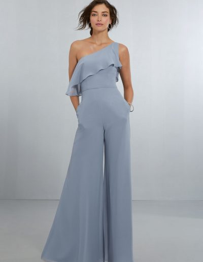Chic Chiffon One Shoulder Jumpsuit with Flounced Neckline