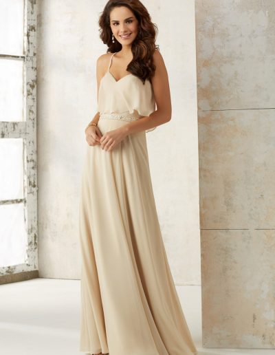 Chiffon A-Line Bridesmaids Dress with Beading