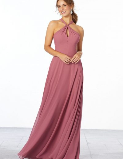 Chiffon Bridesmaid Dress with Keyhole Front