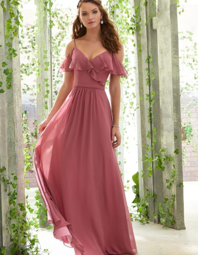 Chiffon Bridesmaid Dress with a Ruffled V-Neckline