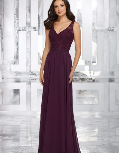 Chiffon Bridesmaids Dress with Beaded Lace Bodice and Keyhole Back
