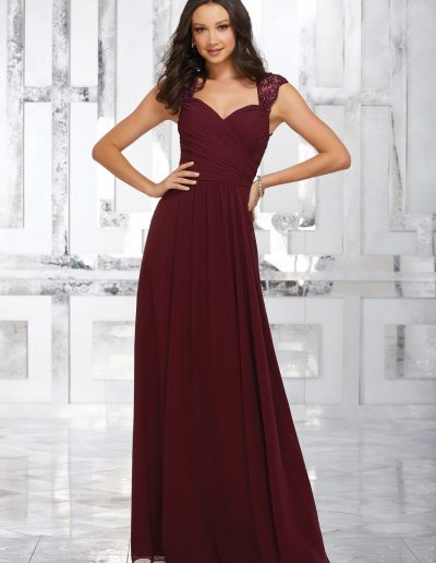 Chiffon Bridesmaids Dress with Beaded and Embroidered Straps