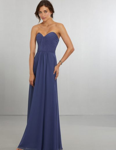 Chiffon Bridesmaids Dress with Draped Sweetheart Bodice