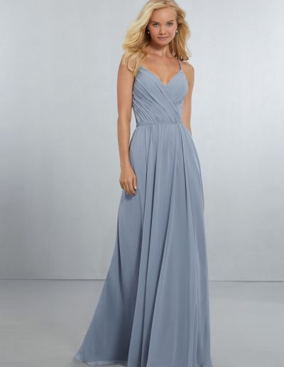 Chiffon Bridesmaids Dress with Draped V-Neck Bodice and Keyhole Back
