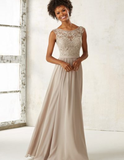 Chiffon Bridesmaids Dress with Embroidery and Beading on Bodice