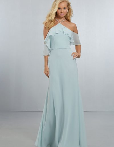 Chiffon Bridesmaids Dress with Flounced Neckline