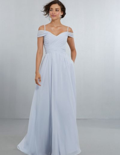 Chiffon Bridesmaids Dress with Off the Shoulder Draped Neckline