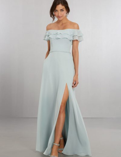 Chiffon Bridesmaids Dress with Off the Shoulder Flounced Neckline