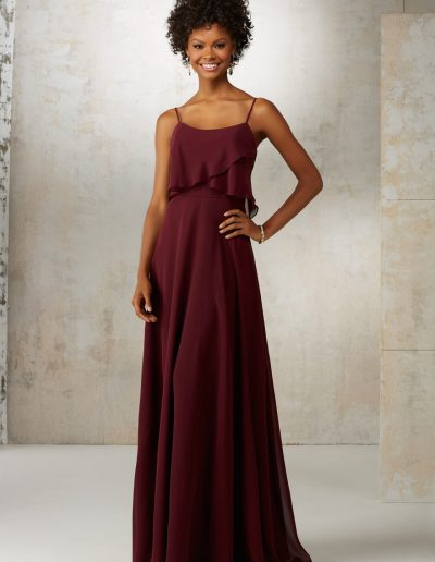 Chiffon Bridesmaids Dress with Spaghetti Straps