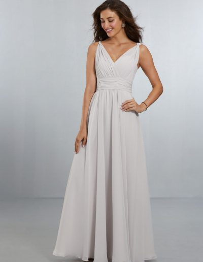 Chiffon Bridesmaids Dress with V-Neckline and V-Back