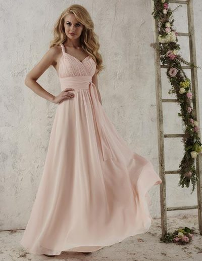 Chiffon dress pleated bodice semi-sweetheart neckline