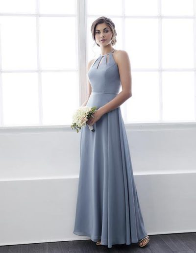 Chiffon full-length dress with satin belt