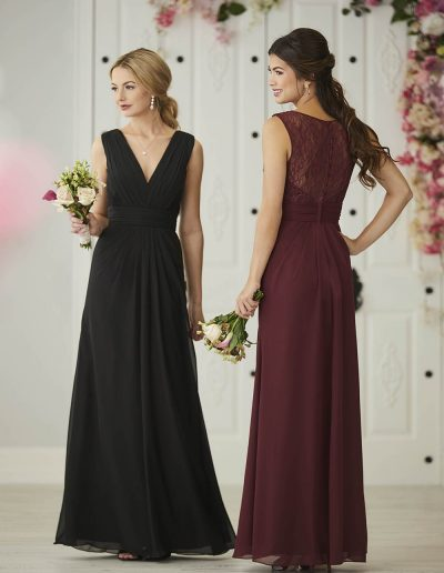 Chiffon gown V neckline back bodice is made of sheer lace A-line skirt