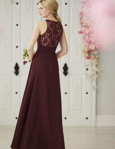 Chiffon gown plunging neckline modern A-line.