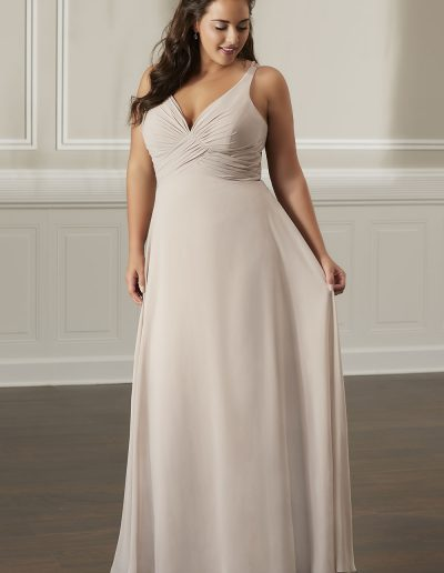 Chiffon gown tank neckline with front chiffon straps to the back bodice