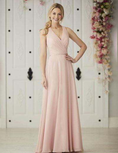 Chiffon halter neckline A-line gown bodice