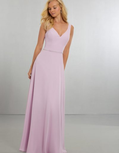 Chiffon with V-Neckline and Delicately Beaded Belt