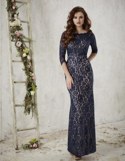 Draped lace with a lovely bateau neckline