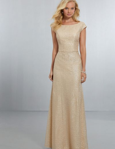 Fitted Caviar Mesh Bridesmaids Dress with Bateau Neckline and Plunging V-Back