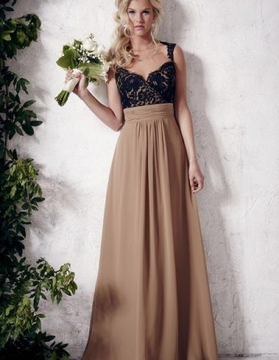 Full-length A-line chiffon skirt Lace bodice with sweetheart neckline and open back