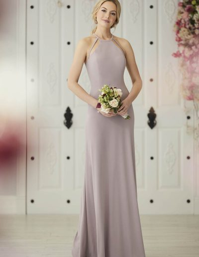 Jersey gown halter neckline with modern strap detail on the front and the back