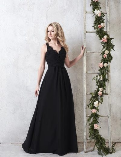 Long chiffon gown with pleated bodice, sweetheart neckline, and adorned lace straps