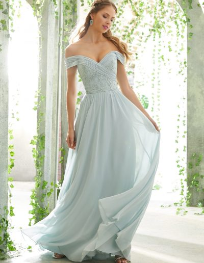 Romantic Bridesmaid Dress with Embroidered, Off The Shoulder Bodice