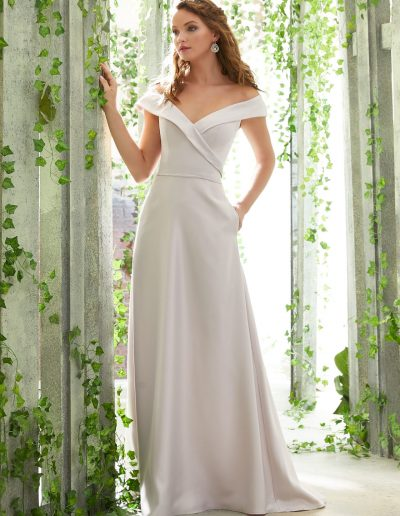 Satin Bridesmaid Dress Featuring a Classic Portrait Neckline