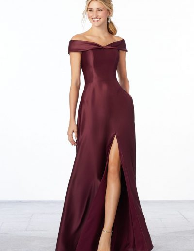 Satin Off-The-Shoulder Bridesmaid Dress