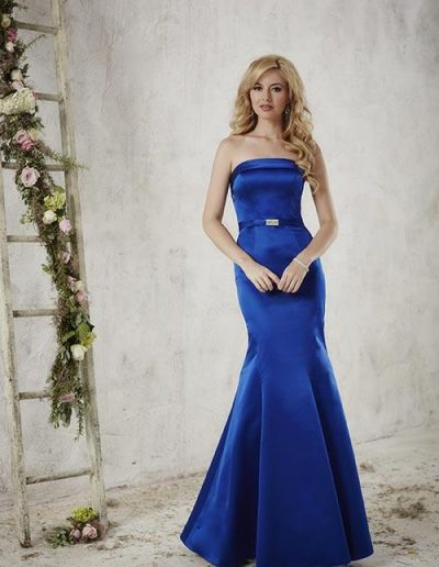 Satin mermaid gown with strapless and straight neckline
