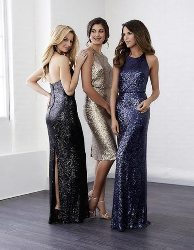 Sequin dress sheath skirt small slit back with halter neckline