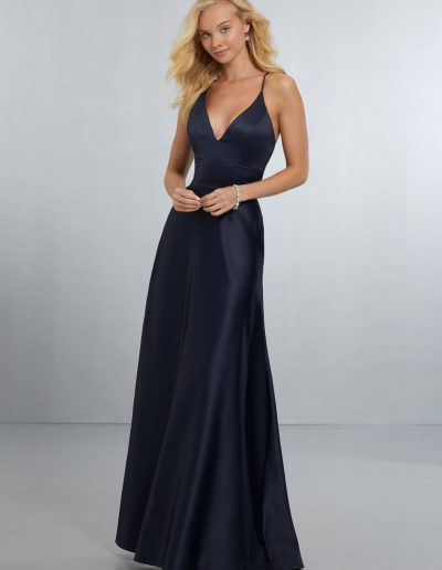 Sexy Satin Bridesmaids Dress with Deep V-Neckline and Strappy Back