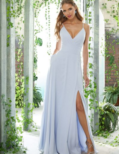 Sexy V-Neck Chiffon Bridesmaid Dress with Side Slit Skirt