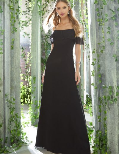 Sophisticated Bridesmaid Dress with Flounced Neckline