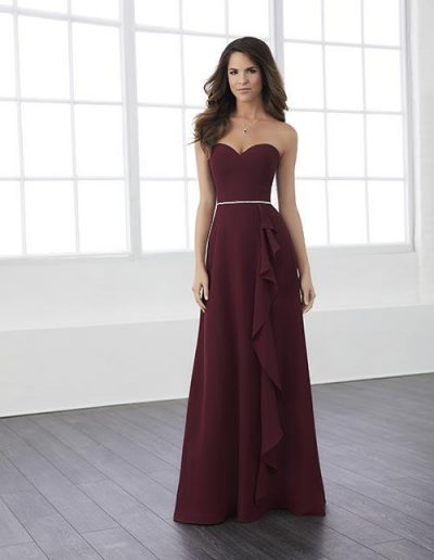 Strapless chiffon dress with sweetheart neckline and beaded empire waist