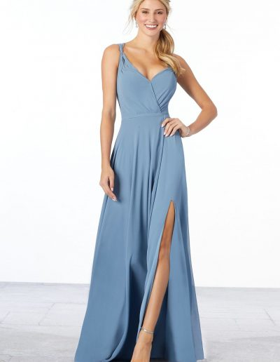 Surplice Bodice Chiffon Bridesmaid Dress